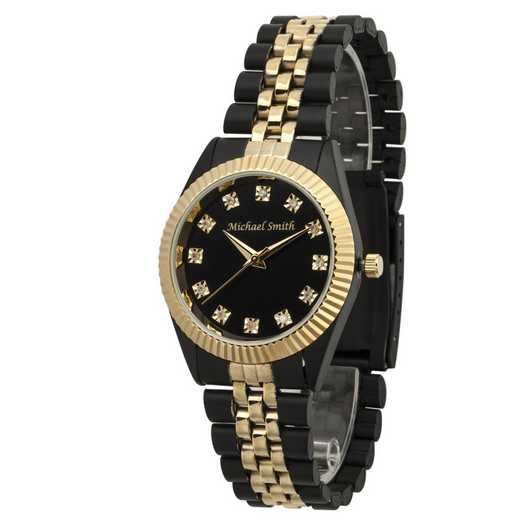 PW00247: Men's Personalized Two Tone Black/Gold Watch